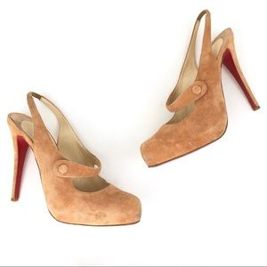 Authentic Christian Louboutin nude Mary Jane heels